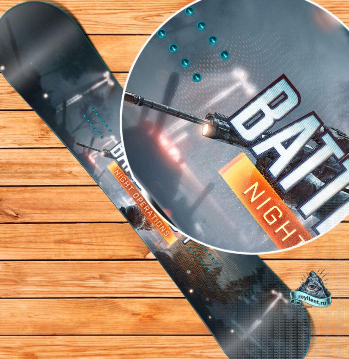 Сноуборд наклейка в стиле компьютерной игры Battlefield 4 Night Operation
