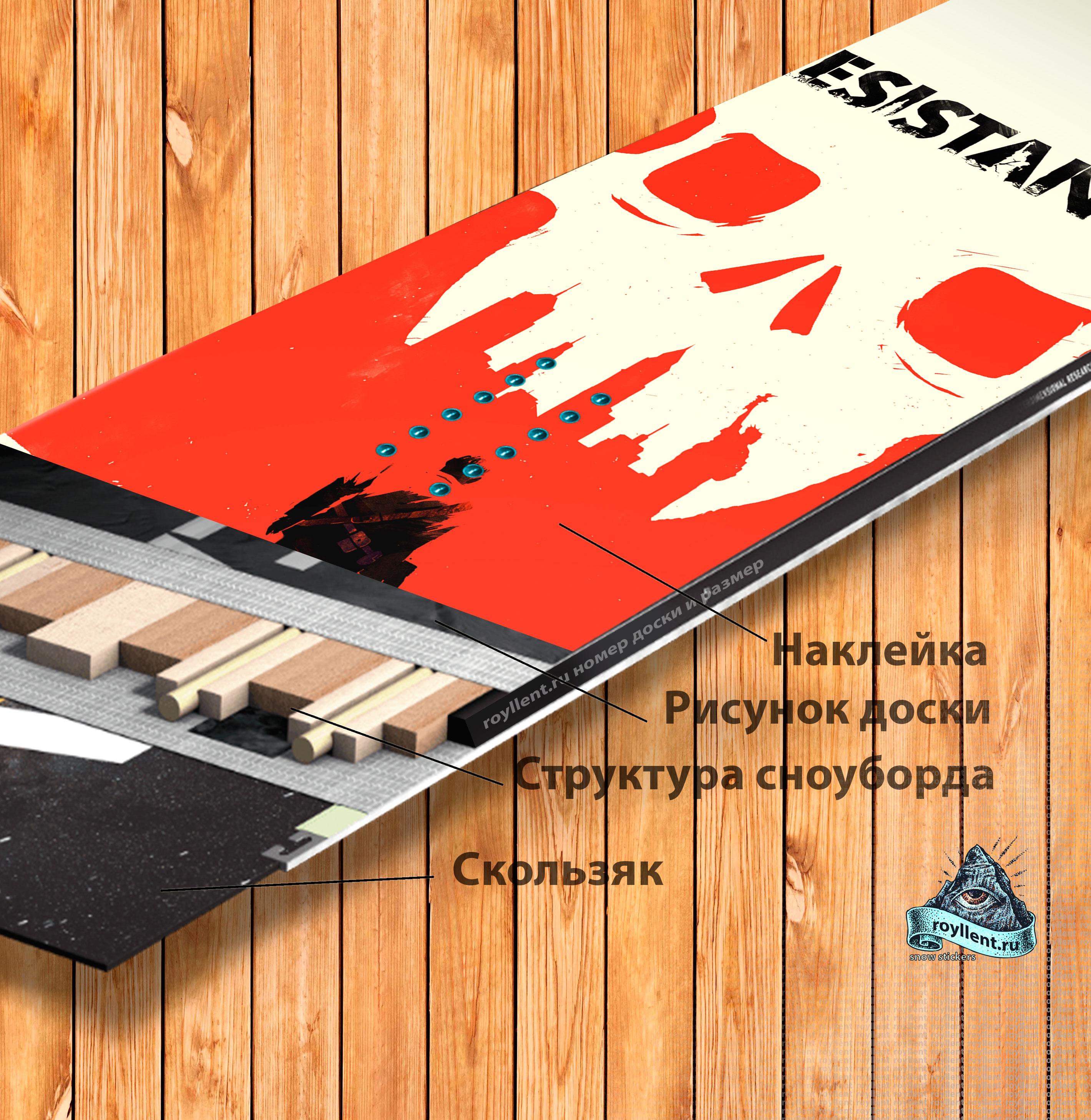 Купить в Сочи или Екатеренбурге сноуборд виниловую наклейку полноразмерную Resistance 3