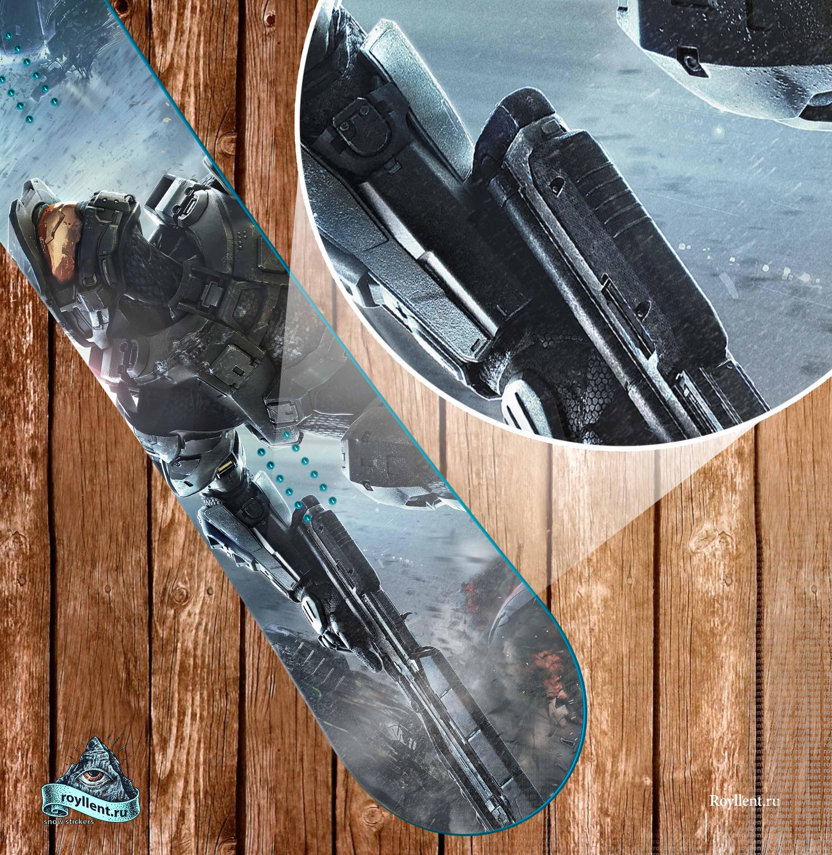 Сноуборд наклейка на доску виниловая HALO