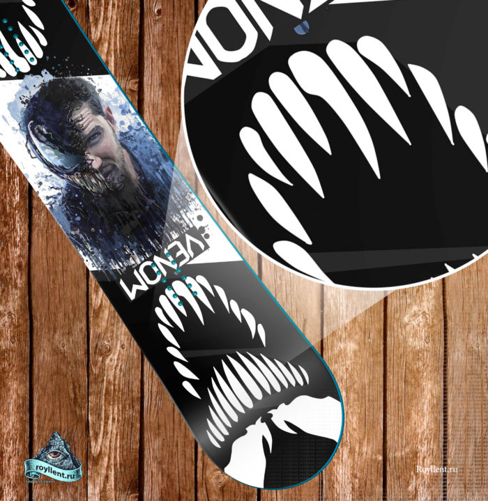 Сноуборд наклейка в стиле Venom Веном Спайдер мен