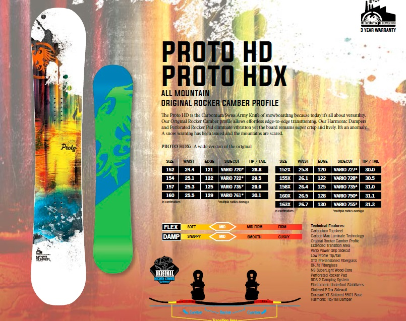 Product Description With its blunt nose and extended transition area, the Proto HD is an All Mountain freestyle board built for anything you can throw at it. Huck off the cornice, slash the tree line, then hit the rail garden..the Proto HD can handle it all with ease. The Harmonic Dampers and Perforated Rocker Pads eliminate vibrations yet the board remains super crisp and lively, making the Proto HD an amazingly versatile snow shredding machine.