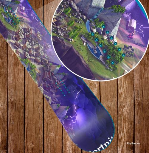 Наклейка на доску в стиле компьютерной игры Fortnite Map Design
