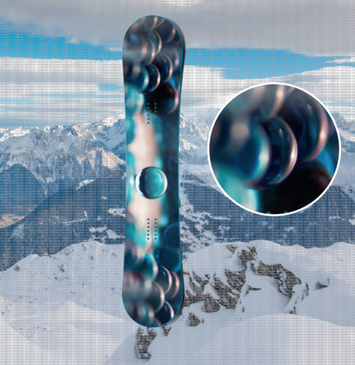 наклейка на сноуборд blue abstract glass balls