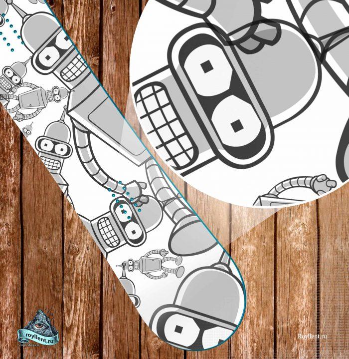 Купить сноуборд наклейку Футурама Бендер