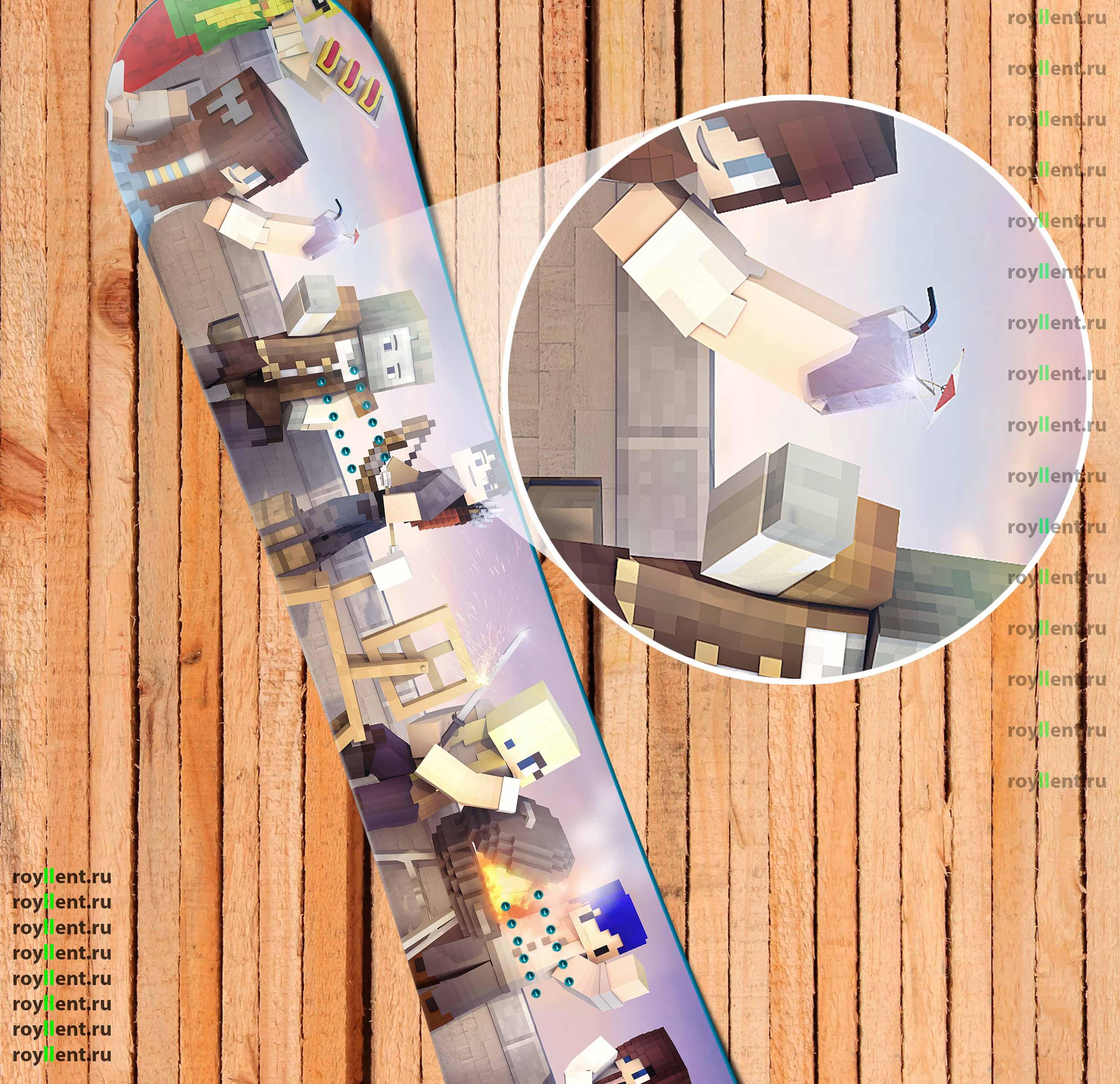 Дизайн наклейки сноуборда в стиле Майнкрафт