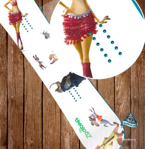 Виниловая наклейка на сноуборд Royllent 2017 Zootopia Urban Jungle 2