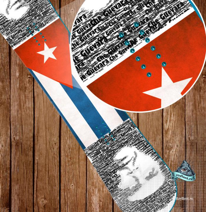 Виниловая Сноуборд с наклейкой стикером Куба Чегевара Революция Куба