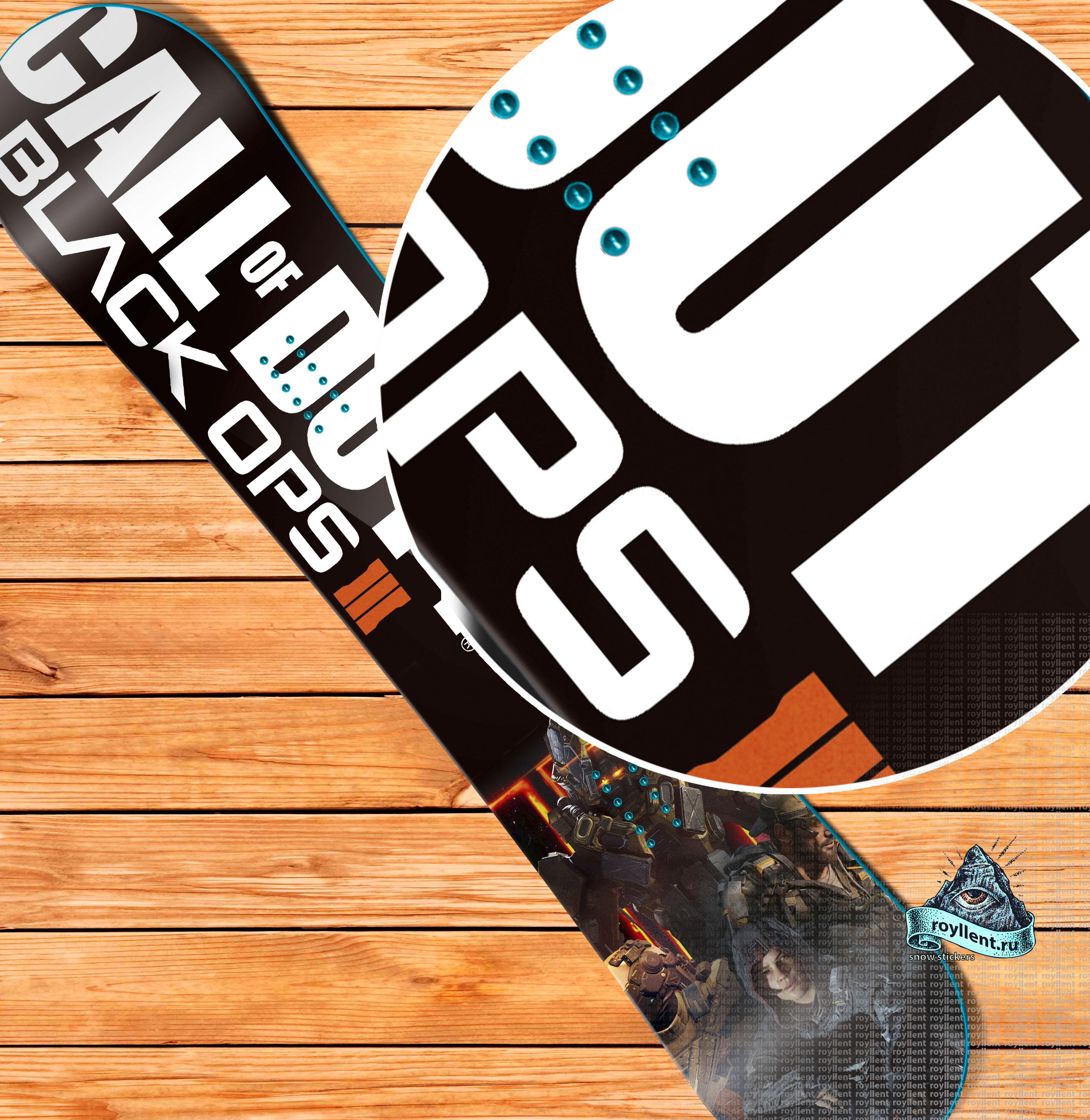 Виниловая сноуборд наклейка на доску Call of Duty: Black Ops 3