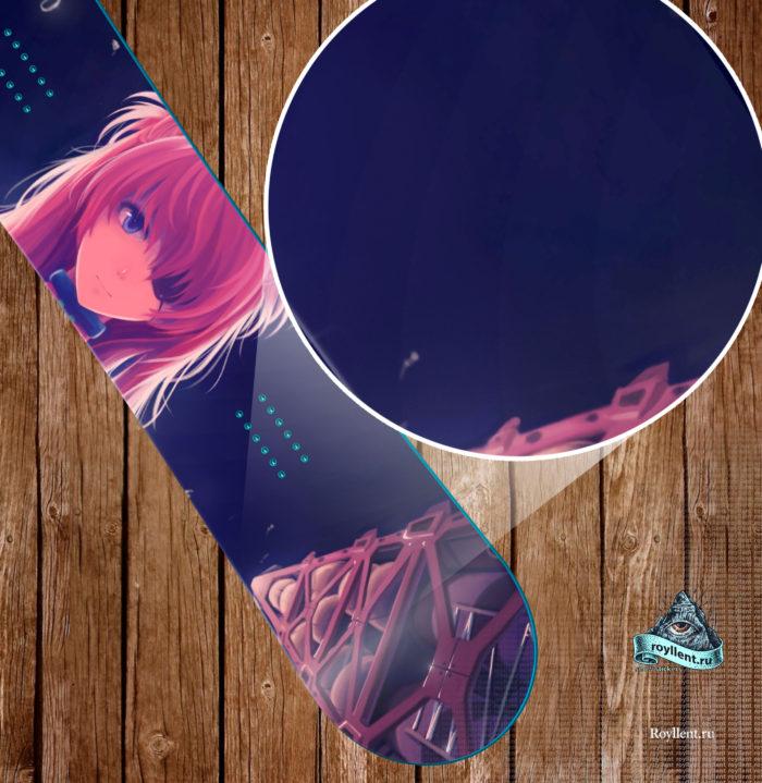 Сноуборд наклейка на всю доску в стиле Японских Аниме