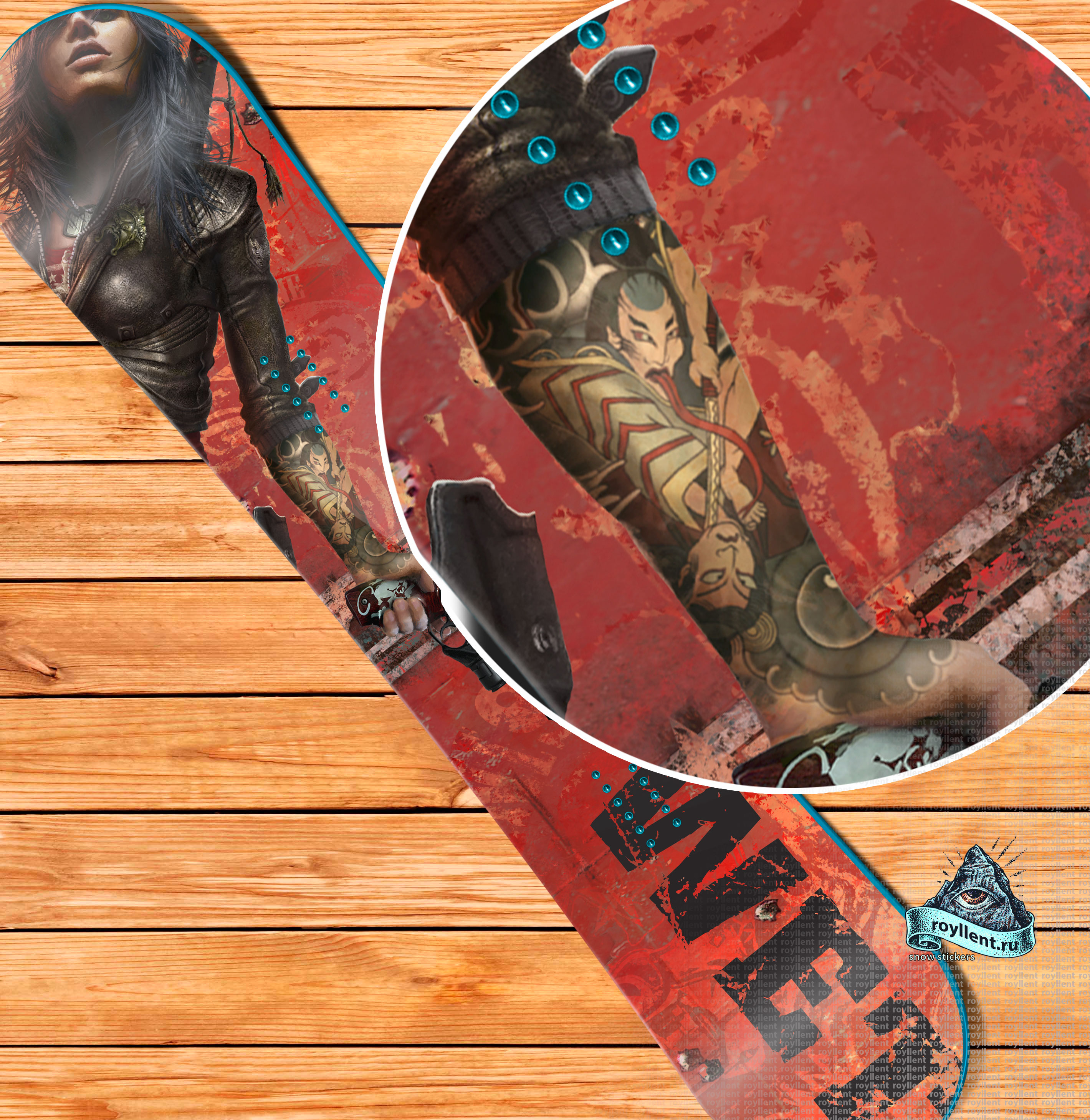 Полноразмерная виниловая наклейка на сноуборд в стиле компьютерной игры Wet