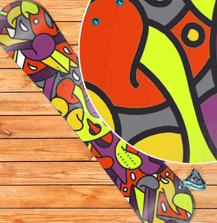 Необычная наклейка на сноуборд яркая