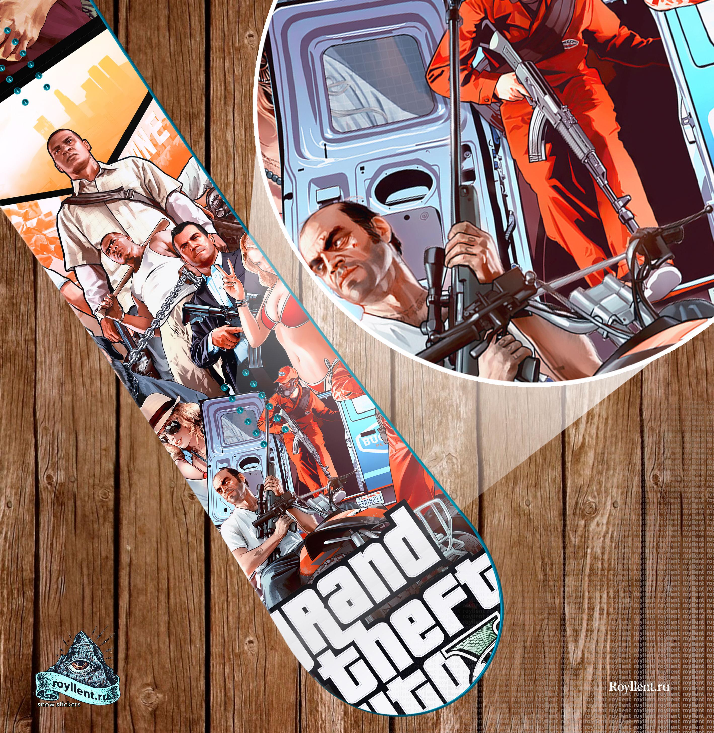 Наклейка на сноуборд большой выбор GTA5