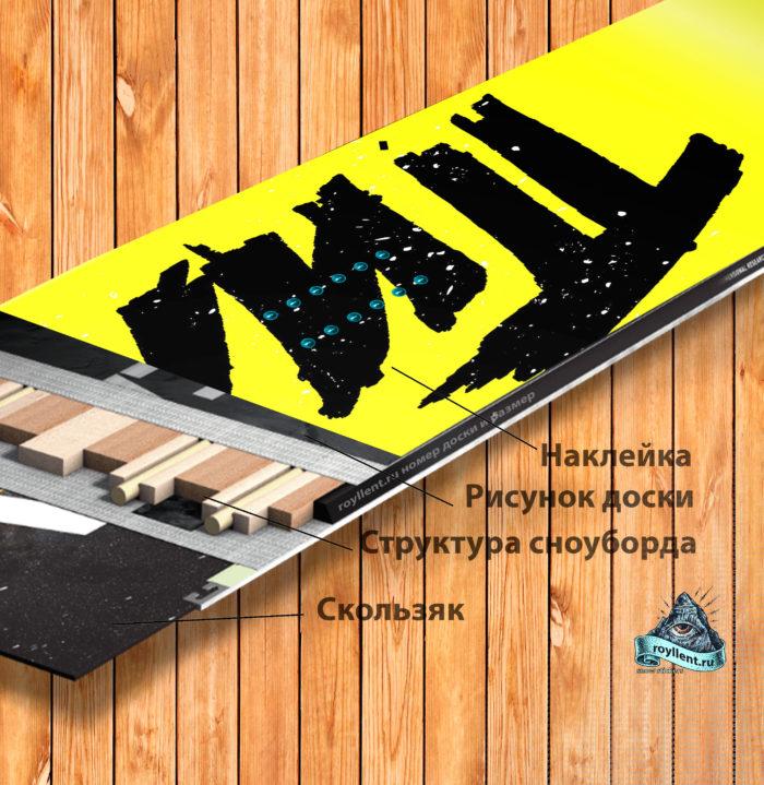 сноуборд с логотипом группы Пилот