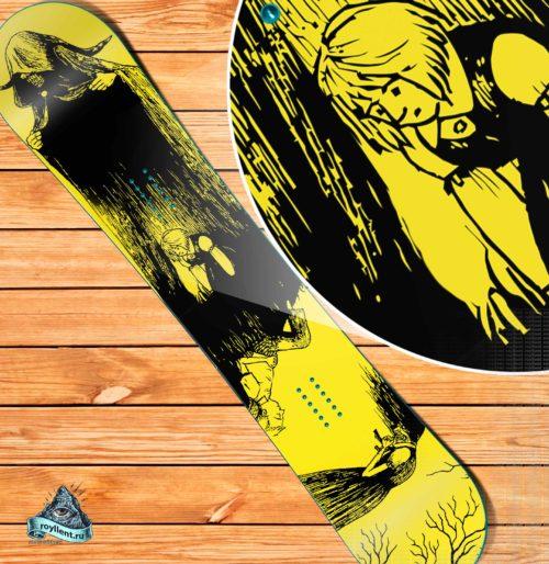 Виниловая полноразмерная наклейка на сноуборд Burton или Nitro Призак демон