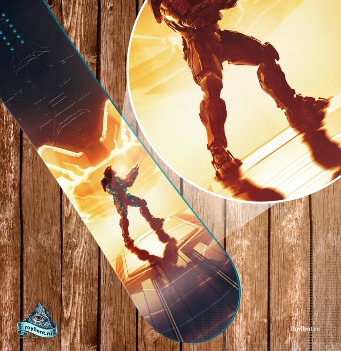 Виниловая полноразмерная наклейка на сноуборд HALO