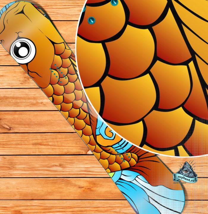Сноуборд наклейка в стиле японских koi-fish