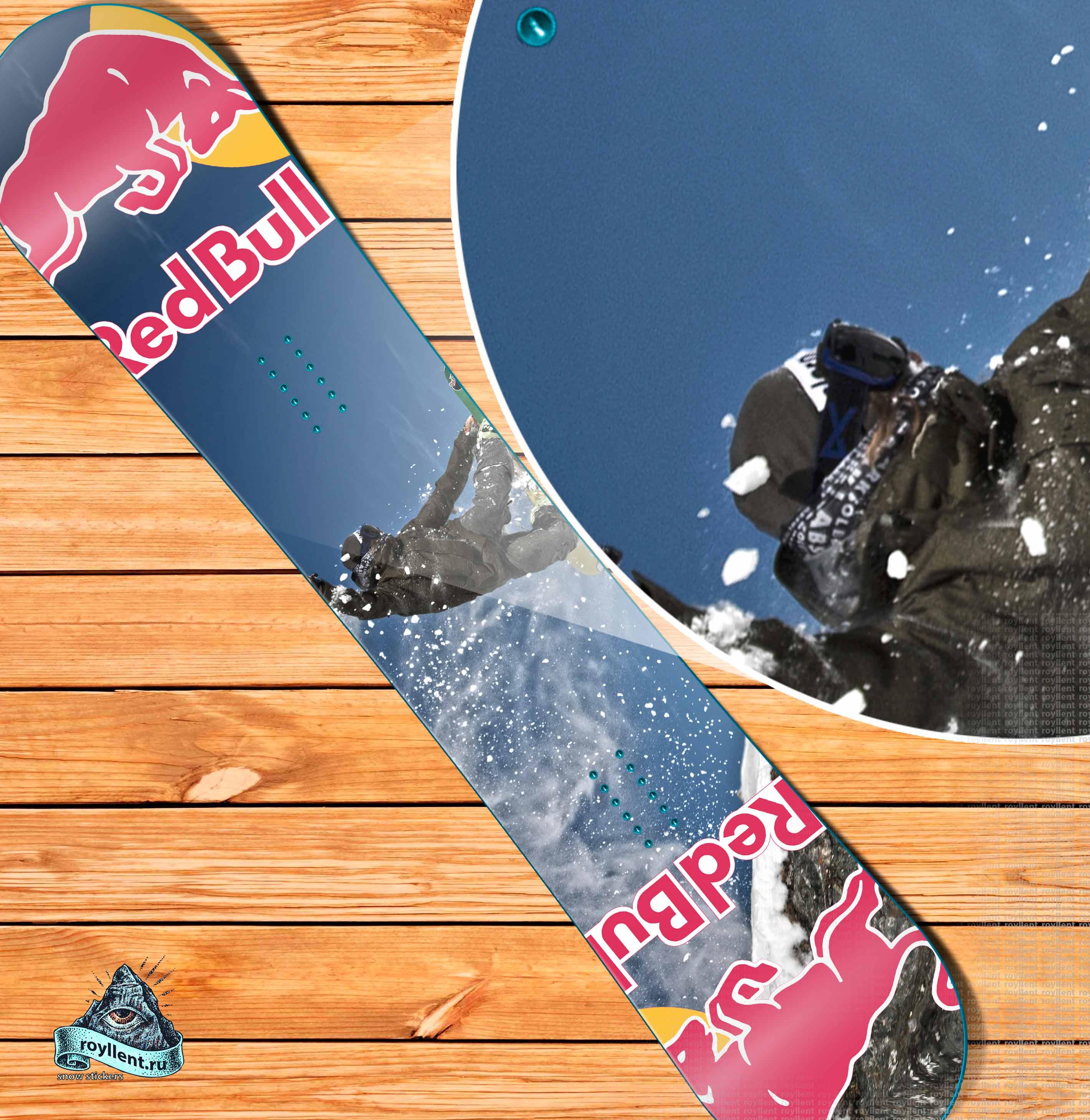 Виниловая наклейка на сноуборд Royllent 2018 RED Bull Style design с доставкой по России.