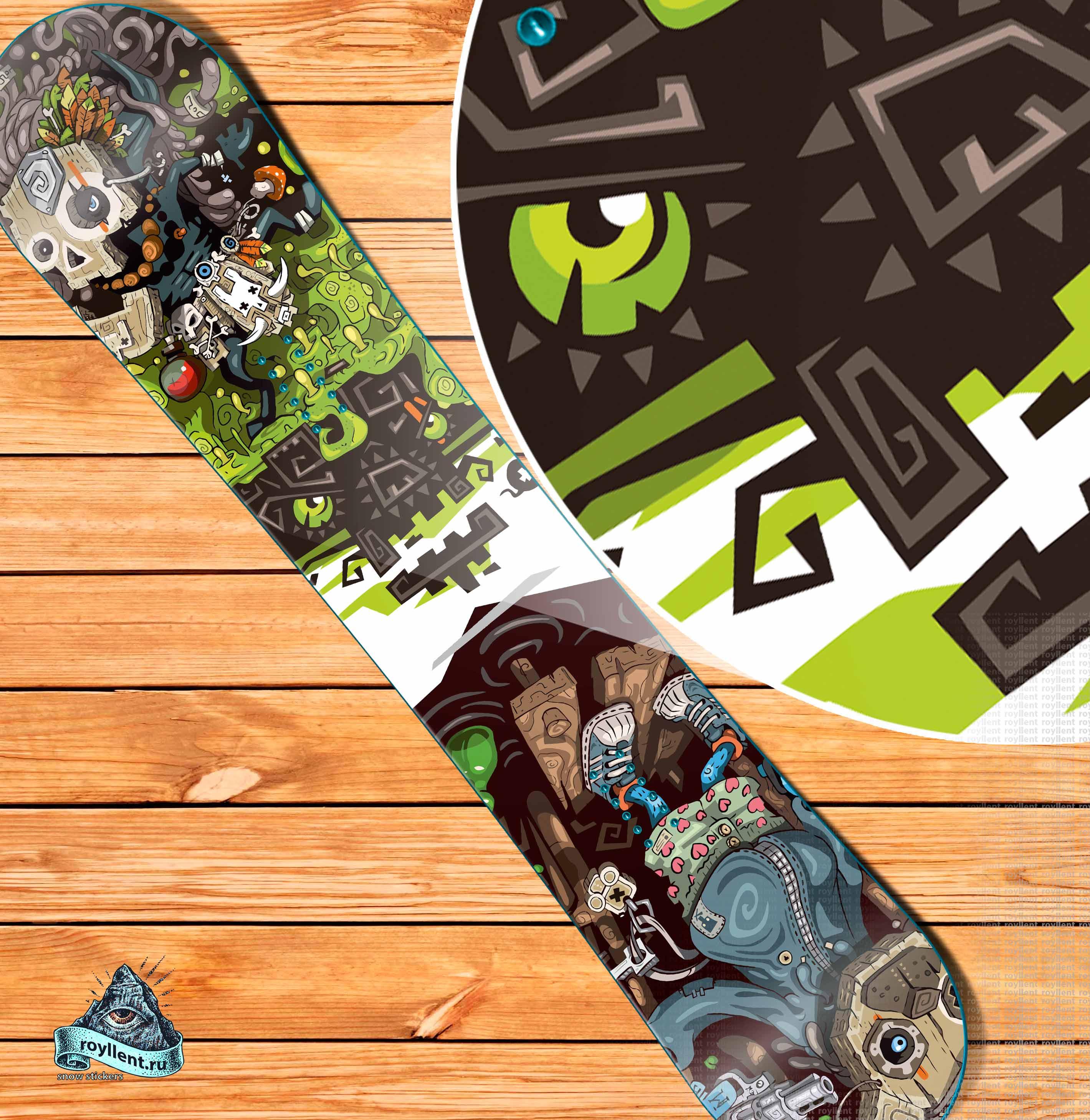 Купить сноуборд наклейку приэльбрусье skull-and-bear