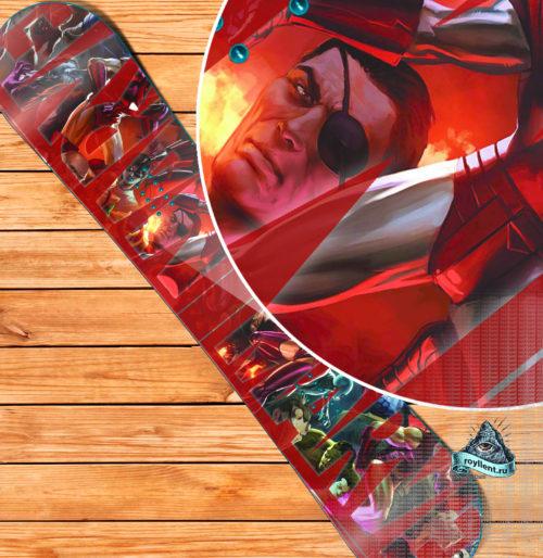 Виниловая наклейка на сноуборд Royllent 2019 Marvel Нeroes Logo Design