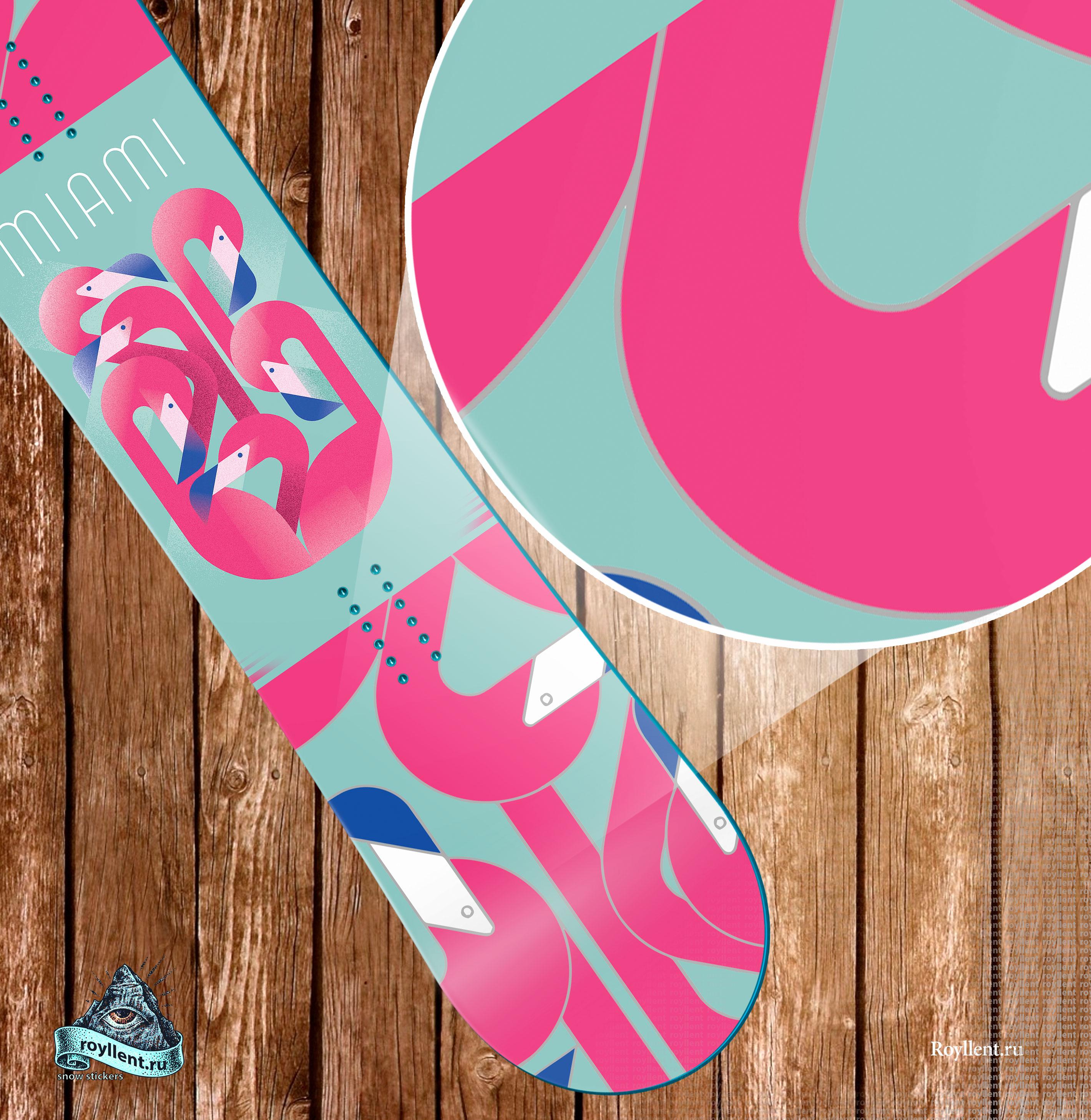 Купить на сноуборд или лыжи наклейку фламинго