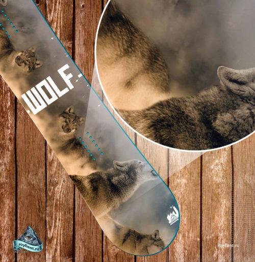 сноуборд наклейка волки