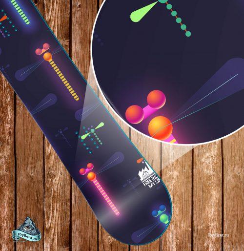 dragonfliy-snowboard неоновая стрекоза на синем фоне сноуборд наклейка для девочек