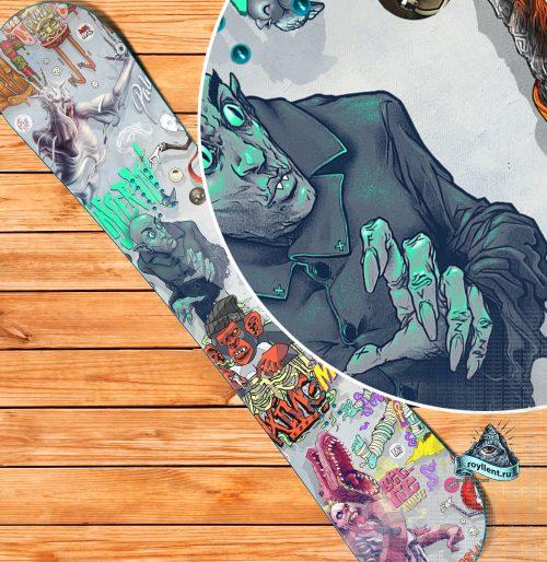 Пародия на ужастики комикс наклейка на сноуборд винил